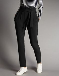 Tapered Leg Paperbag Trousers with Belt | M&S