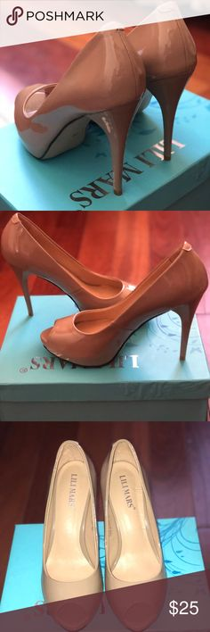 Nude open toe heels Beautiful nude heels! -size 8 -half inch platform at the sole  -open toe -worn ONCE lili mars Shoes Heels