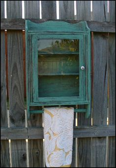 Bathroom Cabinet Medicine Chest with Towel by TeapotsAndWhatNots, $46.00