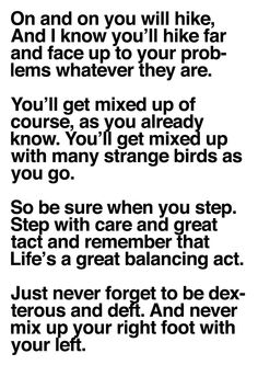 dr. seuss quotes oh the places you'll go - Google Search lifes a great balancing act