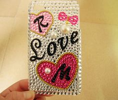 Apple iPhone 4 Case, iPhone 4s Case, iPhone 4 Hard Case bling rhinestone beads love design hard case cover for iphone 4G 4GS by braceletcool, $18.00