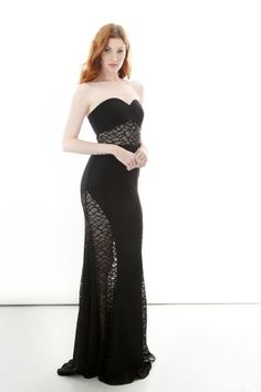 LOTT Strapless Lace Panel Gown from Jay Godfrey