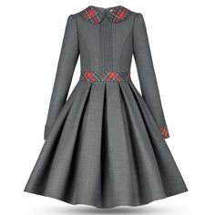 Girls Teen Formal Long Sleeve Grey Dress - Casual Official - Belt Cuffs and Collar with Plaid Patches - Pleated Hem - Puritan Collar Ladies Day Dresses, Little Girl Dresses, Girls Dresses, Simple Outfits, Simple Dresses, Casual Dresses, Pink And Red Dress, Kids Dress Patterns, Girl Outfits