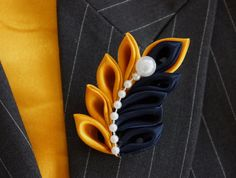 Mustard Yellow and Navy Blue Kanzashi Leaf pattern Brooch Pin- One of a kind Brooch Pin to make a statement.