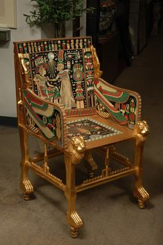 View this item and discover similar for sale at - English Egyptian Revival Giltwood and Painted Bone Inlaid Armchair Ancient Egyptian Architecture, Ancient Egyptian Art, Ancient Aliens, Egyptian Mythology, Egyptian Goddess, Ancient Greece, Ancient History, Egyptian Furniture, Egyptian Home Decor