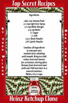 Todd Wilbur's Top Secret Recipes Heinz Ketchup Clone AWESOME!!!
