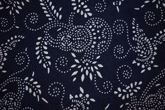 Indigo Fabric by the Yard, Nankeen, Hand Stenciled on 100% Cotton Fabric, Blue and white, Navy