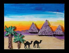 Imagine standing in the Egyptian desert at sunset. Ahead of you are the magnificent Egyptian pyramids. Capture your dreams by creating a desert scene.
