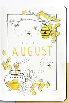The ultimate collection of bee themed bullet journal layout ideas and spreads for inspiration! Bullet Journal School, Bullet Journal Writing, Bullet Journal Banner, Bullet Journal Cover Page, Bullet Journal Aesthetic, Bullet Journal Ideas Pages, Bullet Journal Inspo, Journal Covers, Bullet Journal Spreads