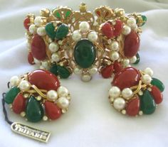 TRIFARI Rare Amazing Bracelet & Earrings Set from vintagejewelrytoo on Ruby Lane
