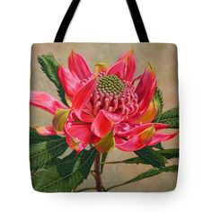 """Red Waratah Beauty 2 Tote Bag 18"""" x 18"""" by Fiona Craig"""