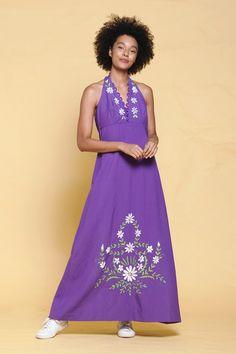 b85096fed3a halter maxi dress purple cotton floral hand embroidery empire waist vintage  70s MEDIUM LARGE M L Vintage