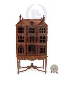 Miniature 1:144 Scale Doll House On Table / Dollhouse Cabinet-Finished In Walnut | Speelgoed en spellen, Miniatuurpoppenhuizen, Meubels | eBay!