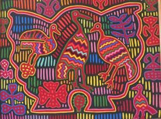 MOLA  - FRAMED  ( TEXTILE ART  from Panama) #NaivePrimitive