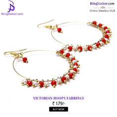 These earrings are a feast for those hungry for elegance and class! #BlingStation #fashion #FashionJewellery #red #hooped #earrings #jewellery