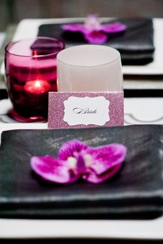 Slate gray and purple table decor for urban chic inspiration shoot, photo by Nikki Closser  | via junebugweddings.com