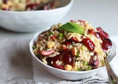 Cherry Hazelnut Orzo Salad  40+ degrees outside today! Yes I am looking at salads and ice cream lol