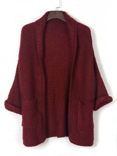 Shop Burgundy Lapel Pocket Detail Open Front Long Sleeve Knit Cardigan from choies.com .Free shipping Worldwide.$31.11