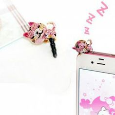 $3.02 Korea Style and Sparking Rhinestone Embellished Cat Shape Cellphone Dustproof Plug