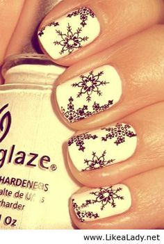 White with Black Snowflakes.