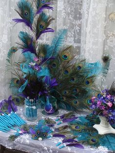 His Royal Majesty Peacock Decoration by Ivyndell Peacock Decor, Peacock Colors, Peacock Theme, Peacock Wedding, Purple Wedding, Wedding Colors, Diy Wedding, Dream Wedding, Wedding Ideas