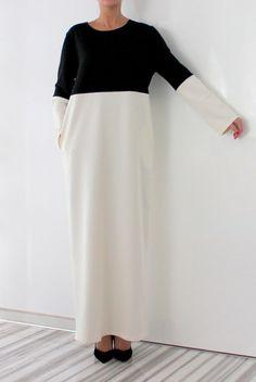 Black and White Elegant Dress with pockets /Party dress / Chic dress / Long dress /Plus size dress