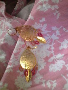 boucles d'oreilles simples, rose et or