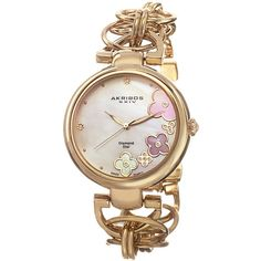 Akribos XXIV Akribos XXIV Women's Women's Gold & Flower Dial Watch -... ($65) ❤ liked on Polyvore featuring jewelry, watches, gold, dial watches, akribos xxiv, gold wristwatches, gold tone jewelry and gold tone watches