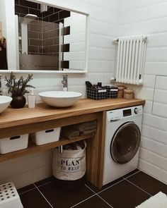 Inexpensive Tiny Laundry Room Design Ideas With Nature Touches 21 Modern Laundry Rooms, Laundry Room Design, Bathroom Design Small, Laundry In Bathroom, Bathroom Interior Design, Modern Bathroom, Interior Design Living Room, Minimalist Bathroom, Bathroom Inspiration