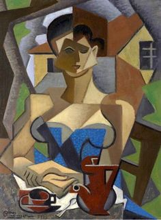 Femme assise, en robe bleue, 1950 by Jean Metzinger. Georges Braque, Cubist Art, Abstract Art, Henri Matisse, Pablo Picasso, Sonia Delaunay, Figurative Kunst, Rene Magritte, Art Sculpture