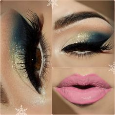 This dramatic eye makeup using gold and dark blue eye shadow is made even more intense with false eye lashes and winged liner. This look is perfect for formal events and nights out.