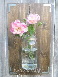 Industrial Wall Vase-twelveOeight- #industrial #vase #rustic #country #shabby #diy #wall decor