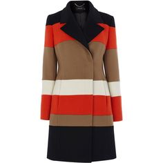 STRIPE WOOL CASHMERE COAT (€195) ❤ liked on Polyvore featuring outerwear, coats, woolen coat, brown wool coat, striped coat, wool cashmere coat and wool coat