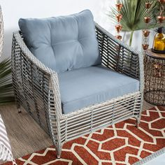 Belham Living Kambree All-Weather Wicker Deep Seating Chair with Cushion | from hayneedle.com