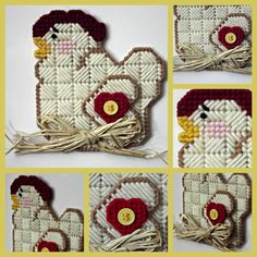 Country Chicken layerd magnet made in plastic canvas adorned with a red heart, yellow button and a raffia bow - pinned by pin4etsy.com