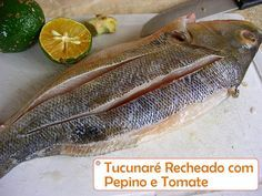 Uma receita simples e gostosa. Os sucos do pepino e do tomate, dão um sabor a mais ao tucunaré. Pode ser assado no forno ou na churrasqueira. ----@---- A simple and tasty recipe. The juices of cucumber and tomato, give a flavor more the peacock bass. Can be roasted in the oven or on the grill.