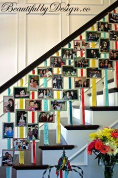 Hang ribbons from your banister to display your Christmas cards and holiday photos! So easy and such a pretty idea. | Beautiful by Design