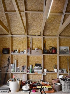 house kloko prague studio pha kitchen barn interior remodelista looking simple and cozy with pottery living room home decor Garage Room, Garage Walls, Garage Wall Shelving, Modern Barn House, Micro House, Tool Sheds, Ceramic Studio, Rooms Home Decor, Modern Architecture