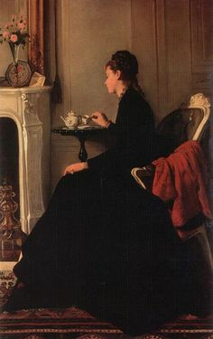 "Eva GONZALES (1849-1883) - ""Le Thé"" - Oil on canvas,1865-1869 - Private collection"
