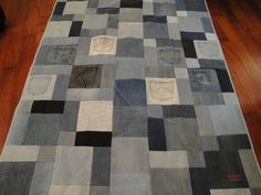 Geometric and Pocket Blue Jean Quilt