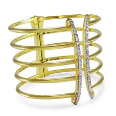 Realm cuff in 18k gold-plated silver with CZ