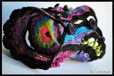"handmade freestyle crochet cuff - ""Pandora"" bracelet cuff with black-purple-pink-turquoise-green crochet lace"