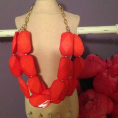 "Red chunky statement necklace Red chunky statement necklace. Perfect condition. Measures 23"" Francesca's Collections Jewelry Necklaces"
