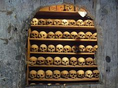 Monks Ossuary in one of the Meteora Monasteries, Greece