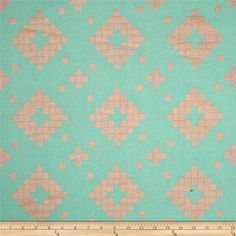 Cotton & Steel Mesa Canvas Tile Teal from @fabricdotcom  Designed by Alexia Marcelle Abegg for Cotton + Steel, this medium weight (6 oz./square yard) cotton/linen blend canvas fabric is perfect for tote bags, toss pillows, window treatments, apparel and more. Colors include metallic copper and mint green.