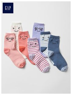 Smiley face days-of-the-week socks (7-pack)
