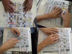 weven met kranten, een vorm knippen en daarna verven