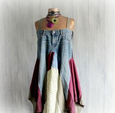 Rustico Sundress Upcycled Jeans blu Boho di BrokenGhostClothing