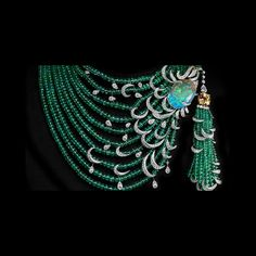 WOW!  Cartier Emerald, Opal, and Diamond Necklace with Yellow Diamond Solitaire