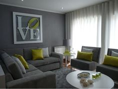If you are looking for gray and green living room design you've come to the right place. We have 17 images about gray and green living room design Dark Living Rooms, Living Room Green, New Living Room, Living Room Interior, Living Room Furniture, Living Room Decor, White Furniture, Small Living, Modern Living
